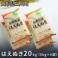 【令和2年産】はえぬき20kg(5kg×4袋)