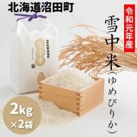 【1010-08】令和元年産 雪中米(ゆめぴりか)【2kg×2袋計4kg】