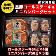 黒豚ロールステーキ&ミニハンバーグセット<桑水流畜産> 31-SK115