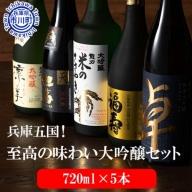 058FH001S.兵庫五国!至高の味わい大吟醸セット(720ml×5本)