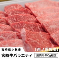 宮崎牛バラエティ焼肉用<約400g:西ノ原牧場> 31-SNH04