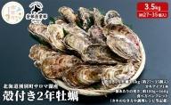 【10月中旬から配送】北海道湧別町サロマ湖産 殻付き2年牡蠣3.5kg(約27~35個入)