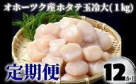 120-13 【定期便12か月】オホーツク産ホタテ玉冷大(1kg)×12回