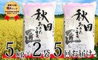 【 早期受付 令和3年産 】農家直送 通算20回「特A」ランク 秋田県 仙北市産米 あきたこまち 5kg×2袋 5ヶ月連続発送(合計:50kg)2021年10月から発送開始