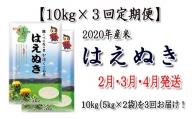 Z-008202【定期便2月・3月・4月発送】2020年河北町産米はえぬき(10kg×3回)【JAさがえ西村山】