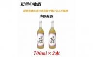 U6221_紀州の地酒 中野梅酒 なかのうめしゅ14度 720ml×2本