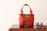 【乗丹房】竹×革手さげバッグ(小)網代編み 吹き漆仕上げ