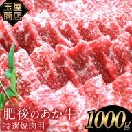 熊本の和牛 肥後のあか牛 特選焼き肉用 1000g 玉屋商店 赤牛 あかうし《2月中旬-3月末頃より順次出荷》