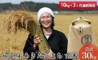 【早期受付開始】令和3年 三種町産 あきたこまち 玄米10kg(3カ月間連続発送)合計30kg <安藤食品>