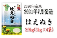I-0182107【2021年7月発送分】山形県河北町産はえぬき20kg(5kg×4袋) 【JAさがえ西村山】