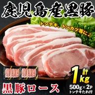 No.600 ≪期間限定・数量限定≫鹿児島県産黒豚肉使用!黒豚ロース計1kg(500g×2・トンテキのたれ付)ソースで焼き上げてトンテキに!歯切れが良く柔らかい食感のロース肉!【コワダヤ】