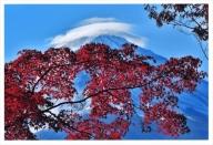 富士山写真大賞  額装写真「紅白の富士 河口湖大石より」(全紙  フレームサイズ約530×640mm)