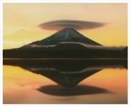 富士山写真大賞  額装写真「昇陽に染まる 精進湖にて」(全紙  額装サイズ約530×640mm)