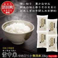 北海道 ゆめぴりか 20kg 無洗米 5kg×4袋 令和2年産 雪中米