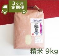 【I34】定期便3か月 あきた種梅産こまち 杜の雫『こだわりの大粒』 精米(9kg×3か月)