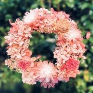 D−191.ドライ&プリザーブドフラワーリース ピンク