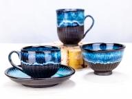 659.陶芸品 茶碗・マグカップ・コーヒーカップセット(青)