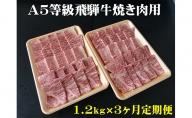 【3ヶ月定期便】A5等級飛騨牛焼き肉用1.2kg ロース又は肩ロース肉