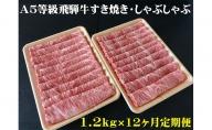 【12ヶ月定期便】A5等級飛騨牛すき焼き・しゃぶしゃぶ用1.2kg ロース又は肩ロース肉