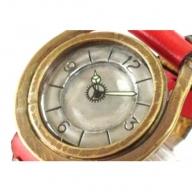 HR24の手造り時計A(男女兼用)黄茶(からし色)