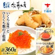 <佐藤水産>いくら(塩味)180gとひとくち数の子松前180g