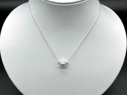 【CJ-2】あこや本真珠8ミリ珠&ミラーボールの「スルーペンダント」(ホワイトゴールド) | au PAY ふるさと納税
