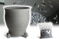 三河焼の職人が作るめだか鉢(水瓶 手造り 12号 いぶし) H100-023