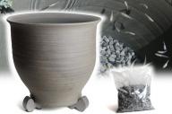 三河焼の職人が作るめだか鉢(水瓶尻丸 手造り 14号 いぶし) H100-024
