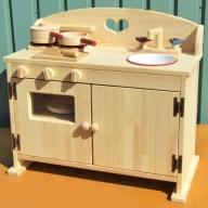 099H079 手作り木製ままごとキッチンDHK吉野桧フライパンお鍋付き
