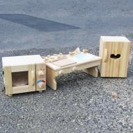 099H184 手作り木製 ままごとセット(ほぼフルセット) 素材色バージョン