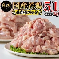 国産若鶏5.1kg 小分けパック!カット済み!_MJ-3314