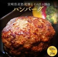 B100-0402 宮崎県産熟成豚とイベリコ豚のハンバーグ120g×20個
