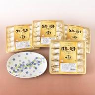 E2−007.プレミアム佐賀牛餃子と有田焼皿(菖蒲)