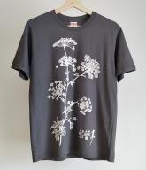 オリジナルTシャツ 薬草 大和当帰 デザイン グレー Lサイズ/ぎゃらりー山百 服 奈良県 宇陀市