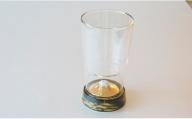 A14-34 有田焼とガラスのコラボ Fortune glass大 (黄金富士)東洋セラミックス