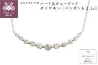 ハート&キューピッドダイヤモンド0.5ct プラチナ ペンダントネックレス [AGANS0615P]