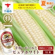 夏限定!!麒麟ラガービール350ml 12缶&白色とうもろこしピュアホワイト10本セット【予約開始】