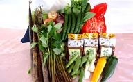 蔵王源流米5kg、蔵王産仙台赤生味噌3kg、季節の恵み詰め合せ