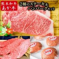 2種のステーキ&ハンバーグセット 1kg超 熊本あか牛 赤牛 イチボステーキ ロースステーキ あか牛ハンバーグ 《30日以内に順次出荷(土日祝除く)》