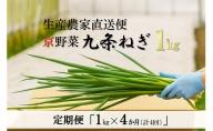 【4か月定期便】生産農家直送 京野菜・九条ねぎ  1kg×4回