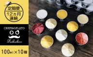 【12ヶ月定期便】日高町産フルーツほおずき使用プレミアム生乳ジェラート食べ比べセットE(10個入り)