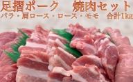 【B-135】特価:豚肉「足摺ポーク1kg」4部位冷凍焼肉セット