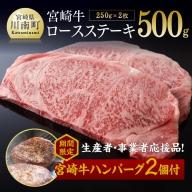 【数量・期間限定】お楽しみの品付!宮崎牛ロースステーキ 250g×2枚