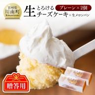 【贈答用】『押川春月堂本店』とろける生チーズケーキ(プレーン2個)