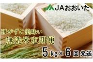 JAの手間いらず無洗米10月から半年間定期便/5kg×6回発送