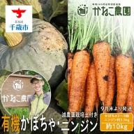 【2021年9月下旬発送】有機基準栽培かぼちゃ・減農薬栽培土付きニンジンセット【かねこ農園】