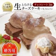 【贈答用】『押川春月堂本店』とろける生チーズケーキ(チョコレート2個)