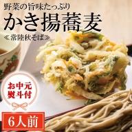 AI038_<お中元熨斗付>常陸秋そば 手打ち生蕎麦 かき揚付き 6人前