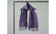 夏涼しく 冬暖かい ふんわりWガーゼ リネン100% 手ほぐしフリンジストール 天然エコ素材 カンパニュラ(青紫)