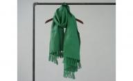 夏涼しく 冬暖かい ふんわりWガーゼ リネン100% 手ほぐしフリンジストール 天然エコ素材 マラカイトグリーン